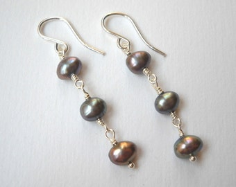 Peacock Pearl Earrings - Sterling Silver Beaded Dangle Pearl Earrings Beadwork Earrings