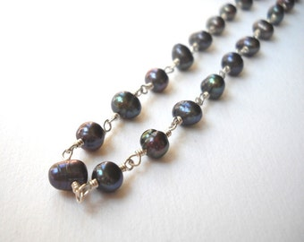 Dark Peacock Pearl Necklace - Sterling Silver Beaded Rosary Necklace Dark Gray Cultured Pearl Strandeadwork Necklace