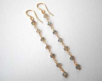 Long Labradorite Earrings - Gold Filled Beaded Dangle Earrings Beadwork Earrings
