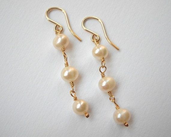 Pearl Dangle Earrings - Gold Filled Drop Earrings Cultured Freshwater Pearls Beadwork Earrings