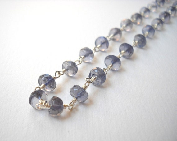 Iolite Necklace - Sterling Silver Beaded Rosary Necklace Sapphire Necklace Beadwork Necklace