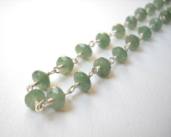 Aventurine Necklace Sterling Silver Necklace Beaded Necklace Rosary Necklace Celadon Mint Green Beads