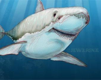 Great White Shark Art - Blue Gray White Aquatic Illustration - Digital Mixed Media Signed Fine Art