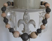 1-2-3 SALE . Pale Peach and Charcoal Gray Bead Choker Necklace. A must have accessory.