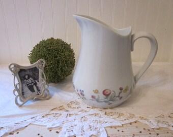 vintage BIA Cordon Bleu Pitcher, Vase. Trellis Pattern, wildflowers, butterflies, vintage shabby prairie farmhouse cottage garden charm