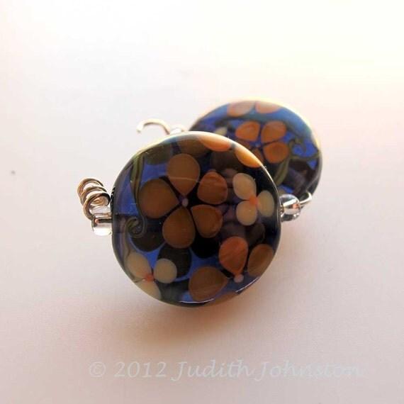 Pair Lampwork floral Beads, Handmade Purple Glass Beads  Judith Johnston SRA UK