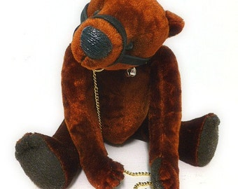 Handmade Stuffed Brown Velvet Bear With Growler Rider
