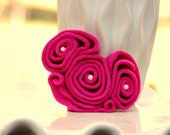 Lovely Be Mine Valentines Day Heart Hair Clip / Brooch Pin / Headband. Pink Cerise Red Aqua Ruffles, Women Teen Toddler, Statement Gift Idea