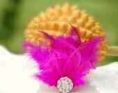 Fuschia / Fuchsia Pink & Rhinestones Fascinator Comb / Hair Clip. Bright Spring Trendy Statement Fan, Wedding Bridal Bride Couture Gift Idea