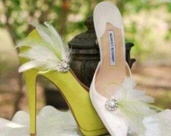 Shoe Clips Lime Green & Ivory / White / Black Feathers Rhinestone. Bride Bridal Bridesmaid MOH, Lush Chic Edgy Birthday, Statement Feminine