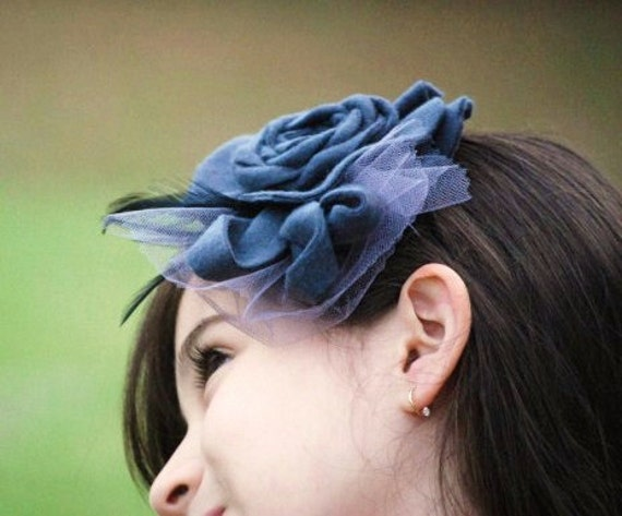 Frippery Gray Flower Hair Clip Fascinator or Headband by Sofisticata. Couture Elegant Tween Front Page, Fabric Feathers Tulle Preppy Holiday