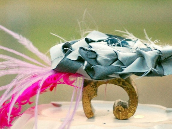 Siver Satin Braid Flower Fuschia / Hot Pink Feathers Fascinator Clip, Comb, Pin. Handmade Bride Bridal Gift, Black Bead Metallic Sleek Gray