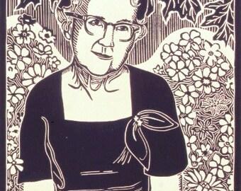 Retro Linocut Print- Grandmother- Vintage Mid Century Woman- Angel of Ages- Original Print- 11 x 14 inch 28 x 35 cm