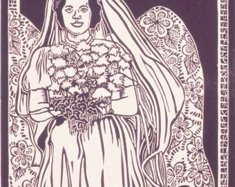 Wedding Linocut Print- Angel Bride Print- Original Art- 8 x 10 inch