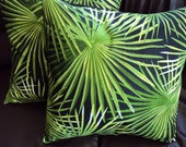 Throw pillow green palm leaves pattern Cushion covers cases shams UK designer fabric 18 x 12 inch handmade