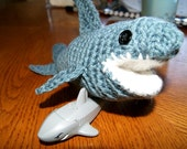 Hand Crochet Shark / Made to order Great White Shark / Stuffed Toy shark / bath toy Sea animal / Plushie  inspired by the movie Finding Nemo