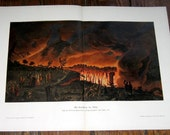 1900 VOLCANO erupting print original antique lithograph of mount vesuvius italy