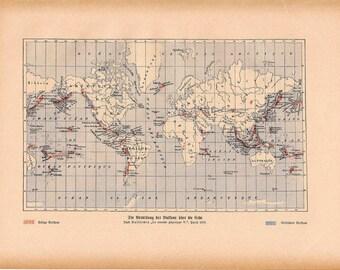 1900 WORLD MAP print original antique chart lithograph