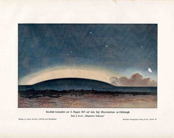 1900 NORTHERN LIGHTS LITHOGRAPH -  original antique print - celestial astronomy