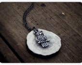 """FULL MOON. Silver Owl and """"Full Moon"""" Deer Antler Slice necklace"""