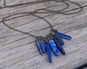 FATHER SKY -  Blue Lapiz Lazuli Cluster of 7 stones, Fringe Necklace, Stone Temples Collection