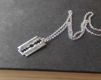 Runs with Razors Necklace .Sterling Silver Cast Razor Blade Necklace. Unisex sharps. Hand -forged by Chymiera