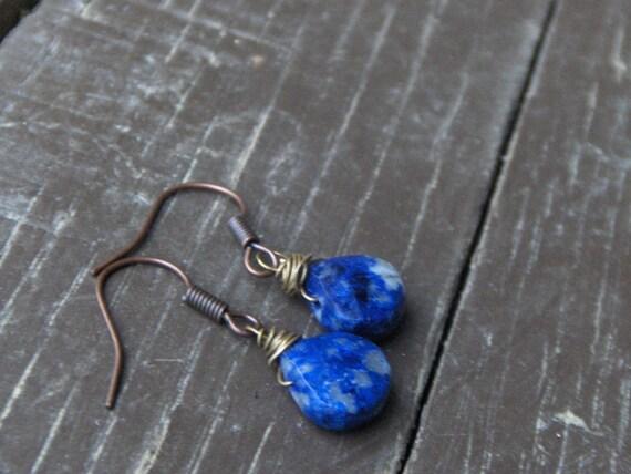 BLUE MUSE. Cobalt sodaliteTeardrop briolette earrings.