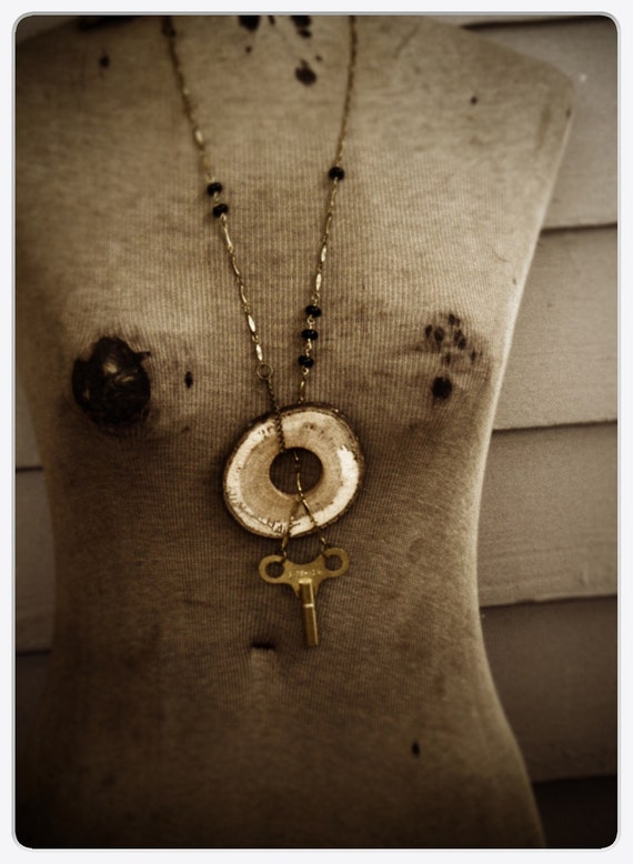 The Time Keeper's Lodge .  Vintage Brass Clock Key and Oak Slice Lariat Necklace