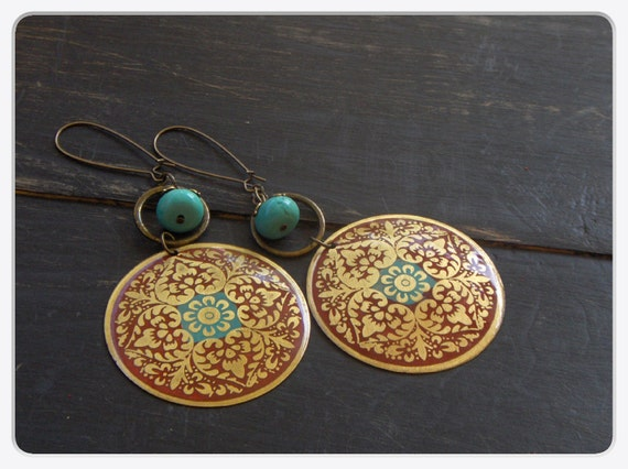 Gypsy of The Lotus. Vintage coral red and turquoise enamel Asian medallions and turquoise Howlite earrings.