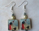 Vintage Halloween Cat Witch Charm Earrings