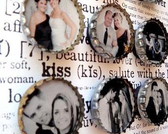 20 WEDDING ENGAGEMENT ANNIVERSARY Custom Photo Bottle Cap Magnets