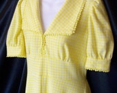 Vintage 1970's Handmade Yellow Gingham Empire Maxi Puffy Sleeve Dress
