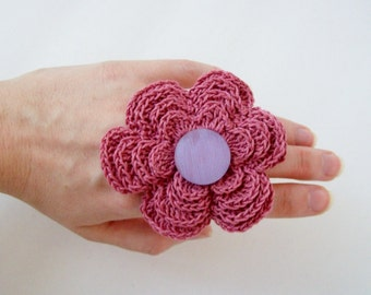 Adjustable Repurposed Crochet Pink Flower Ring With Vintage Purple Button
