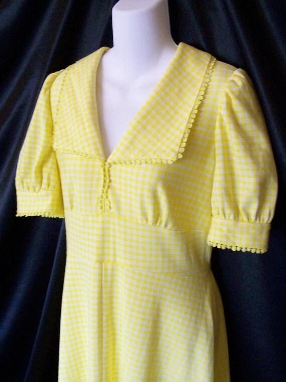 Vintage 1970's Handmade Yellow Gingham Empire Maxi Puffy Sleeve Dress