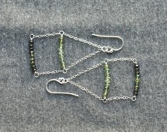 green tourmaline ombre earrings . trapeze