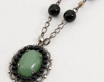 Green Aventurine Pendant, Antique Silver Chain Necklace with Black Pearls, Green Aventurine Necklace, Gemstone Necklace