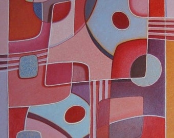 """Art & collectibles Original Oil Painting Abstract Modern Large Big Pink Red Quebec Canada By Jacques Audet """" Shapes """", 32"""" x 43"""""""
