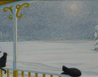 """Art Painting Landscape Moonlight Country Living Tranquility  Animals Black Cat Night Cold Quebec Canada By Jacques Audet """"Winter Snow Light"""""""