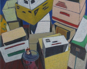 """Art Original Oil Pastel Drawing Still Life Moving Boxes Cardboard Pile Quebec Canada By Jacques Audet """" Once Again """" 20'' x 25.5'''"""