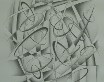 """Art & Collectibles Original Graphite Drawing Abstract Modern Black And White Paper Quebec Canada By Jacques Audet """" The Dance Of The Rings """""""