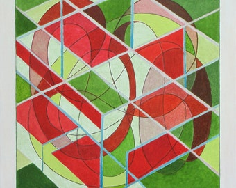 """Art & Collectibles Original Oil Painting Abstract Modern Three Dimentional Green Geometrical Quebec Canada By Jacques Audet """" Partitions """""""