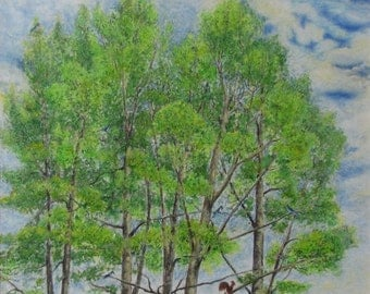 """Art & Collectibles Original Large Oil Pastel Drawing Tree Landscape Roof Weathercock Quebec Canada By Jacques Audet """"Sentinels"""", 22 x 24"""
