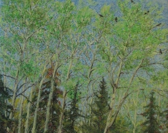 "Art Original Drawing Oil Pastel Landscape Forest Tree Green  Birds Eastern Townships Quebec  Appalachian Canada By Audet "" Spring Concert """