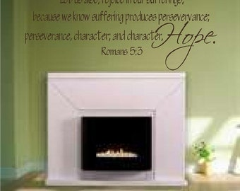 Wall Decal Vinyl Art Religious Scripture Christian Sticker Romans 5-3 Hope Character Word Lettering