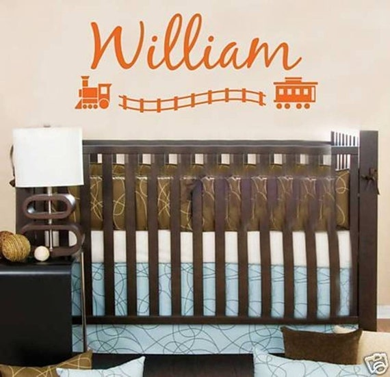 Wall Decal Trains Personalized Name Children Boys Vinyl Sticker Word Art Lettering Bluestreak Decals