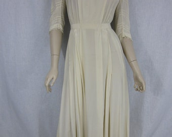 Edwardian Ivory Silk Wedding Tea Party Dress