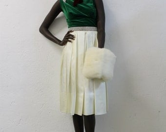 1960s Green and White Satin Holiday Cocktail Dress