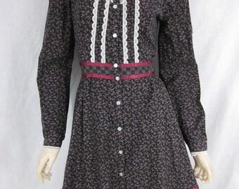 1980s Jessica McClintock Gunne Sax Black Floral Dress