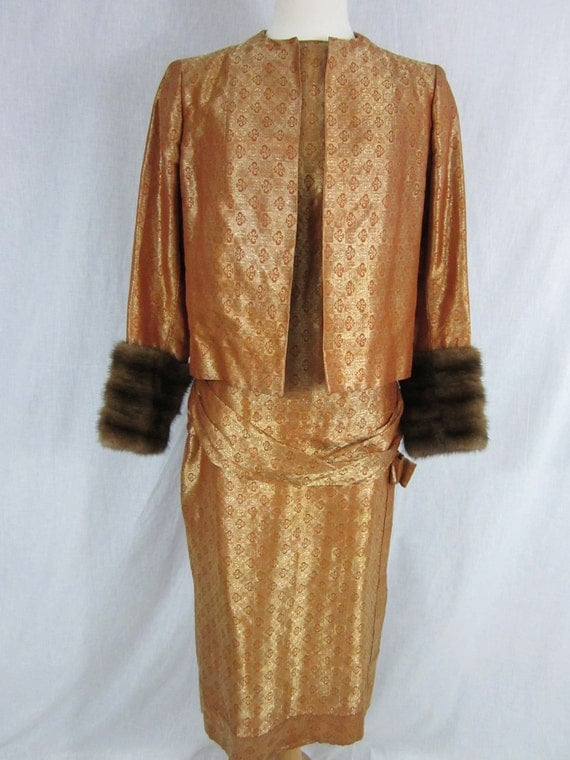 1960s Gold Orange Cocktail Dress and Jacket with Mink Fur Cuffs