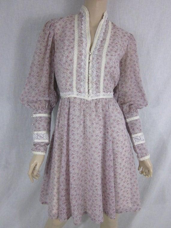 1980s Jessica Mcclintock Gunne Sax Pink Floral Dress